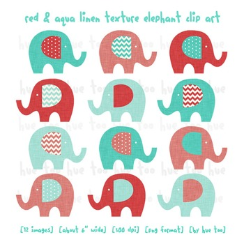 Elephant Clip Art, Red and Aqua Blue Elephants, Linen Texture for TpT Sellers