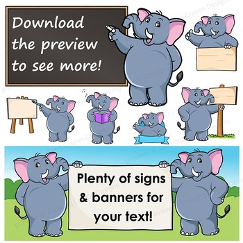 Elephant Clip Art with Signs - Letter E in Alphabet Animal Series