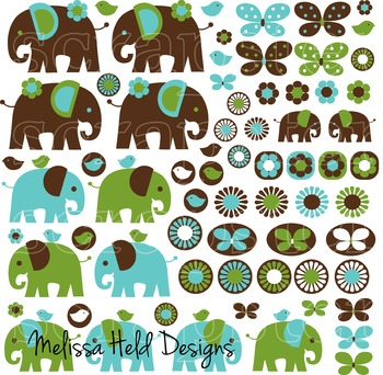 Elephant Clipart: Blue Green Brown