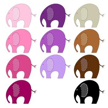 Elephant Clipart - 22 digital elephants / 4x3 inches - A00041