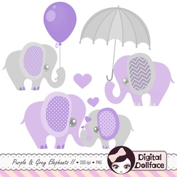 Elephant Clipart, Purple and Gray