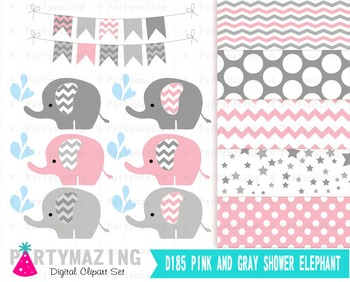 Elephant Clipart set , Baby Pink and Gray D185