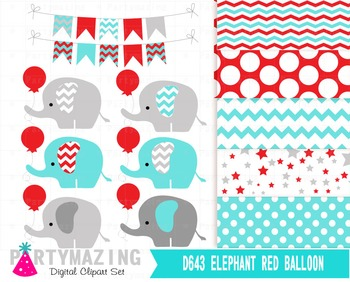 Elephant Clipart set , Turquoise and Gray Clipart and Digital Paper Set D633
