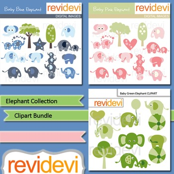 Elephant Collection Bundle - digital clip art (3 packs)