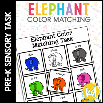 Elephant Color Matching Folder Game for Early Childhood Special Education