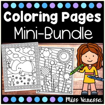 Coloring Pages Mini Bundle By Miss Vanessa Teachers Pay Teachers