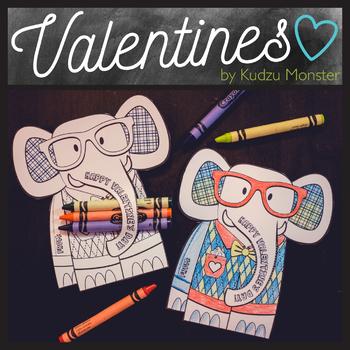 Elephant Coloring Valentine Crayon Hugger