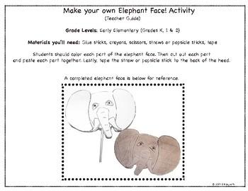Elephant Coloring Worksheet & Activity