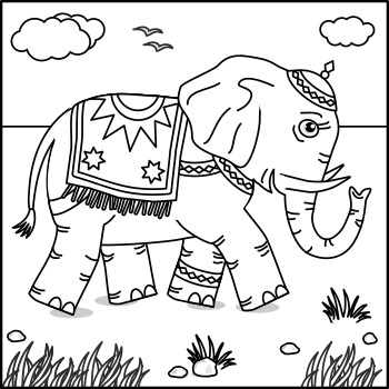 Connect the Dots and Coloring Page with Elephant, Commercial Use Allowed