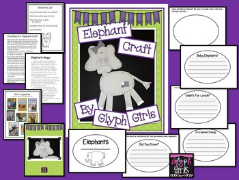 Elephant Craft with Writing Options