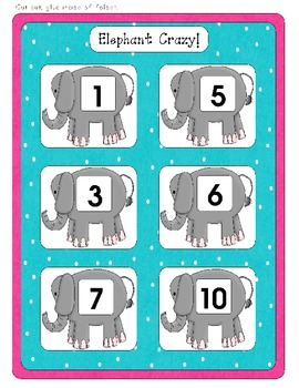 Elephant Crazy! - Visual Discrimination Numbers - File Folder Game