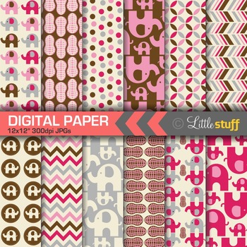 Elephant Digital Papers - Pink/Silver/Brown