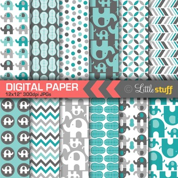 Elephant Digital Papers - Turquoise/Gray