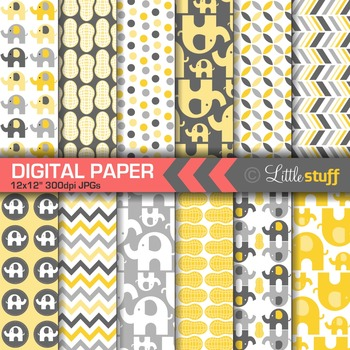 Elephant Digital Papers - Yellow/Gray
