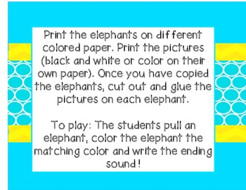 Elephant Ending Sounds (Great for Literacy Stations)