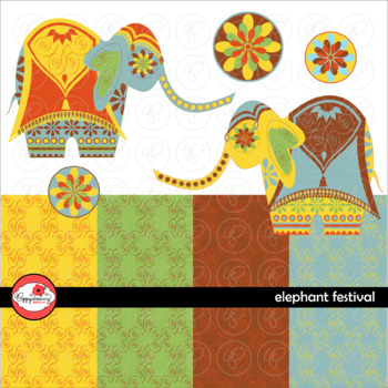 Elephant Festival Clipart and Digital Paper by Poppydreamz