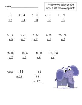 Elephant Joke 1 and 2 digit Addition worksheet