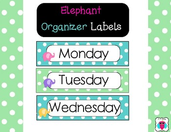 Elephant Organizer Labels