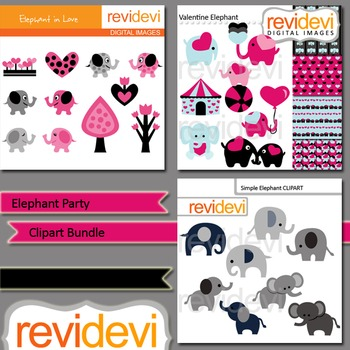Elephant Party Clip art bundle (3 packs)