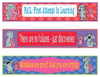 Elephant & Piggie Decor EDITABLE Growth Mindset Bookmarks or Name Plates