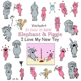 Elephant & Piggie, I Love My New Toy, Mo Willems inspired clip art