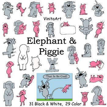 Elephant & Piggie, Large Clip Art Set! We Are In A Book!  Mo Willems