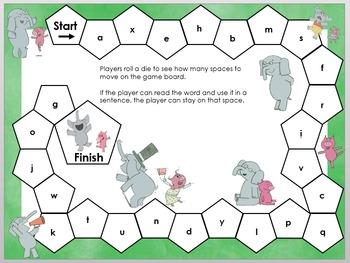 Elephant & Piggie themed Dolch Sight Word Reading Board Game