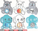 Elephant Rhino Circle Outline Monogram clipart Safari Baby Animals frame 753S