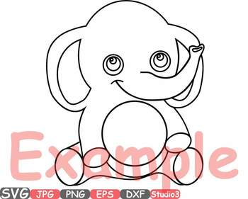 Elephant Rhino Circle Outline Monogram clipart Safari Baby Animals frame 753S