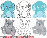 Elephant Rhino Outline draw clipart Safari Baby Animals africa jungle zoo -749S
