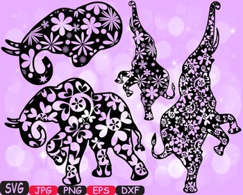 Elephant SVG Mascot Flower Jungle Animal Safari family wild clipart circus -386S