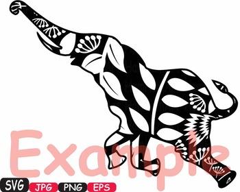 Elephant SVG Mascot Flower Jungle Animal Safari family wild clipart circus -423S