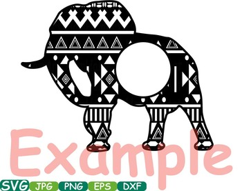 Elephant Safari Monogram Circle Cutting Files SVG Silhouette school Clipart 248S