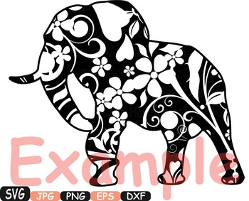 Elephant Safari Monogram SVG Silhouette school Clipart zoo circus flower 362S