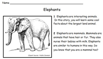 Elephant Story Reading Comprehension Integrating Math, Language Arts
