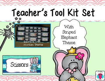 Elephant Striped Tool Box Labels