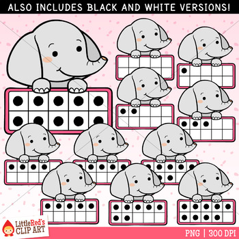 Elephant Ten Frames Clip Art