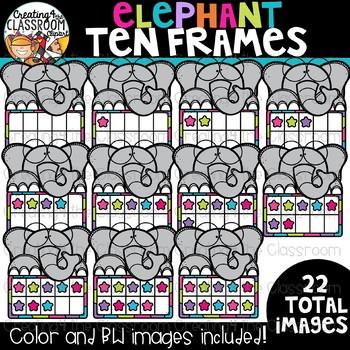 Elephant Ten Frames Clipart {Math Clipart}