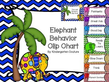 Elephant Theme Behavior Clip Chart  (Chevron)