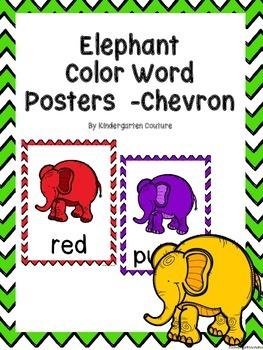 Elephant Color Word Posters (Chevron)