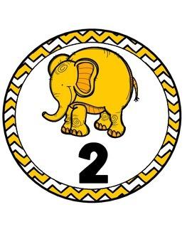 Elephant Theme Table Numbers -FREEBIE (Chevron)