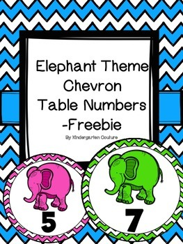 Elephant Theme Table Numbers -FREEBIE (Chevron)