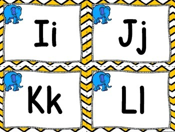 Elephant Word Wall and 200 Fry Words (Chevron)