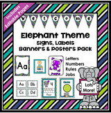 Elephant Theme Classroom Decor EDITABLE (Elephant Classroo