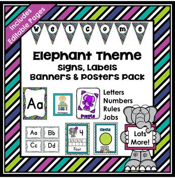 Elephant Theme Classroom Decor EDITABLE (Elephant Classroom Theme Decor)