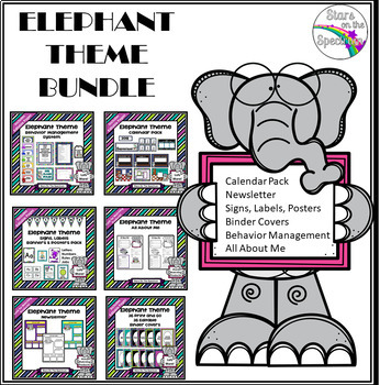 Elephant Theme Classroom Decor Mega Bundle EDITABLE (Elephant Class Theme Decor)