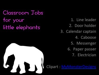 Elephant Theme : Classroom Jobs