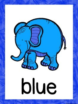 Elephant Color Word Posters
