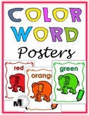 Elephant Theme Classroom - Color Word Posters