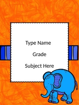 Elephant Theme Editable Binder Covers